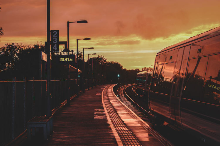 sunset Sunset City Railroad Track Sky Cloud - Sky Railroad Station Platform Railroad Platform Train Platform Public Transportation Train - Vehicle