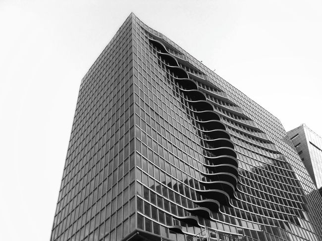 Crescent Architecture Skyscraper Cityscape City Skyline Black And White Monochrome Building Building And Sky Crescent Lines, Shapes And Curves Xiaomi Redmi 3 Pro