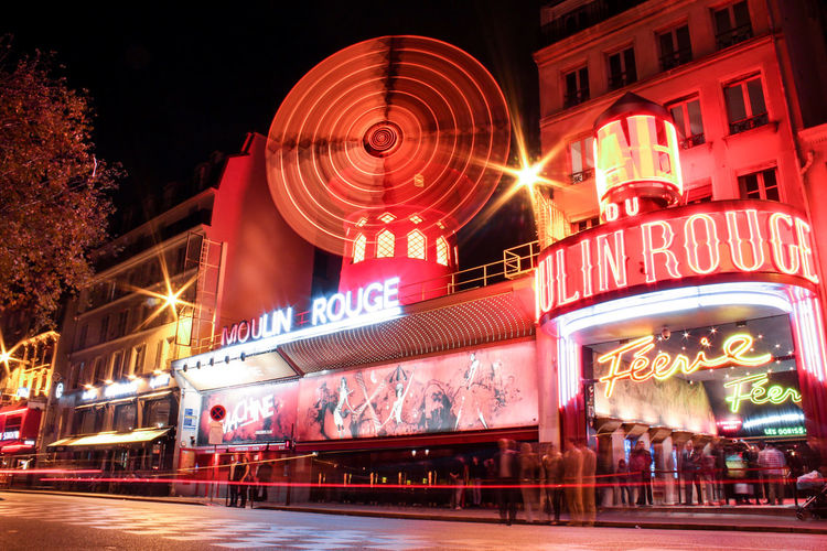 Architecture City City Street Illuminated Light Lightpainting Long Exposure Moulin Rouge Night Night Lights Nightlife Nightphotography Outdoors Paris Paris, France  People Red Sky Speed Street Traveling Home For The Holidays Traveling Home For Holidays EyeEmNewHere