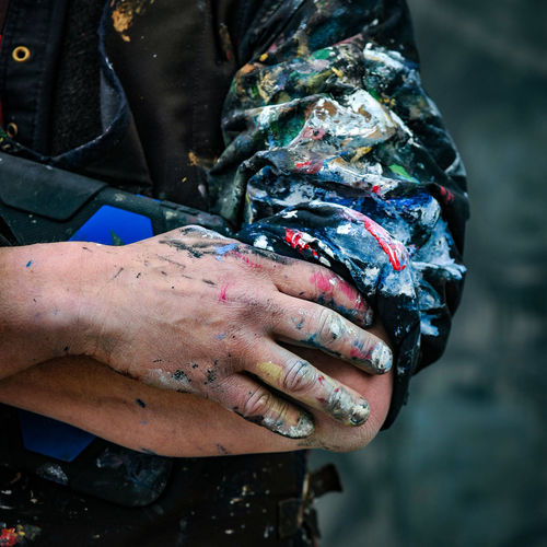 Cropped image of messy painter