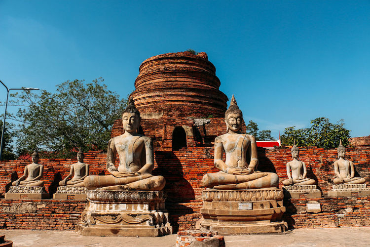 Statues at temple against clear sky