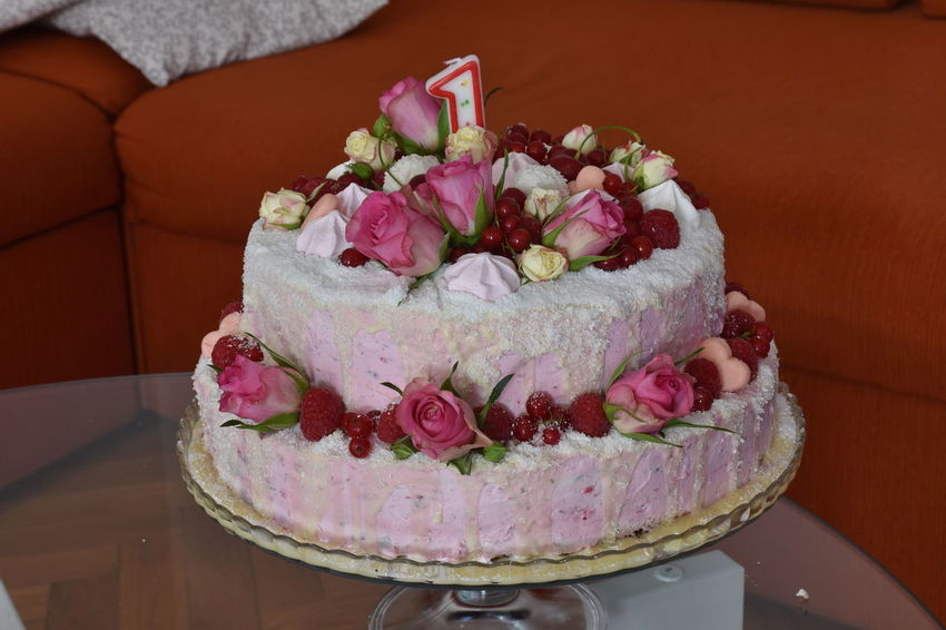 Birthday Cake Baked Cake Close-up Dessert Flower Food Food And Drink Freshness Indoors  Indulgence No People Pink Color Ready-to-eat Still Life Sweet Sweet Food Table Temptation Unhealthy Eating