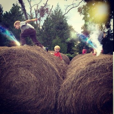 Ahhh! Run for the hills!! Boys Playing Haybales  Wowfx Filtermania2 Fun