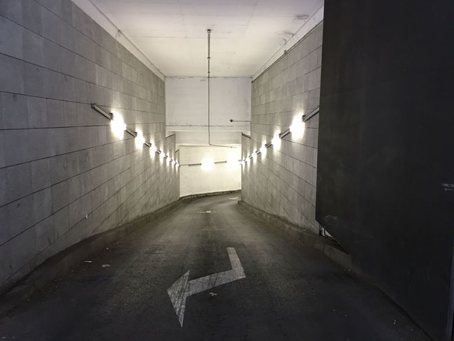 Architecture Built Structure Entrace Illuminated Parking Lot Way Down