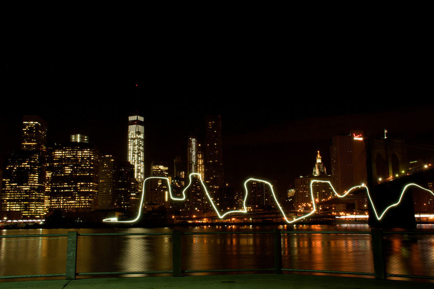 Architecture Building Exterior Built Structure City City Life Illuminated Light Light Long Exposure Night NYC NYC Photography Water Waterfront