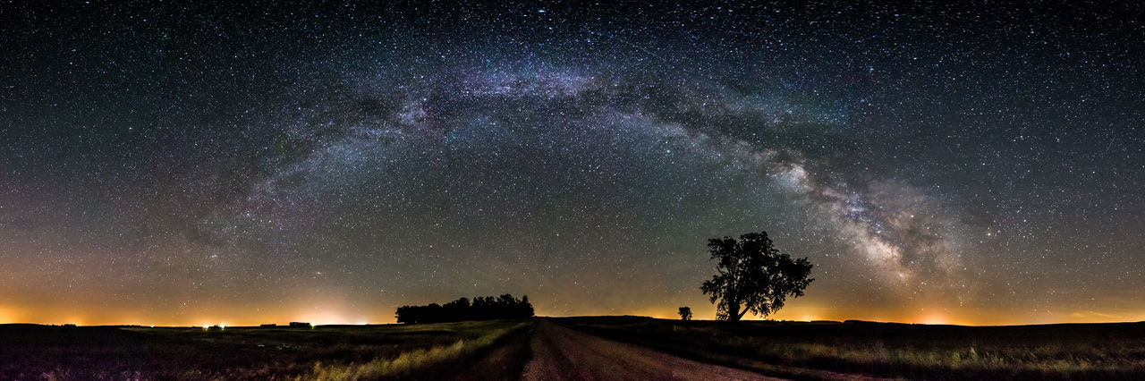 Astrophotography Darkness And Light Galaxy Milkyway Night Nightphotography Noperson Panorama Road Rural Stars At Night Starscape Tree Universe