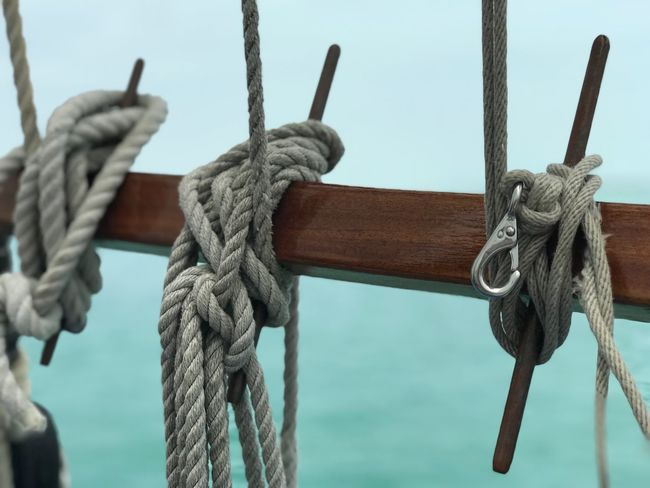 Rope Tied Up Strength Connection Day Focus On Foreground No People Tied Knot Close-up Nautical Vessel Water Sailboat Outdoors