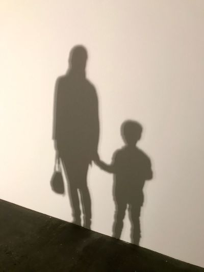 Shadow of father with son walking against clear sky
