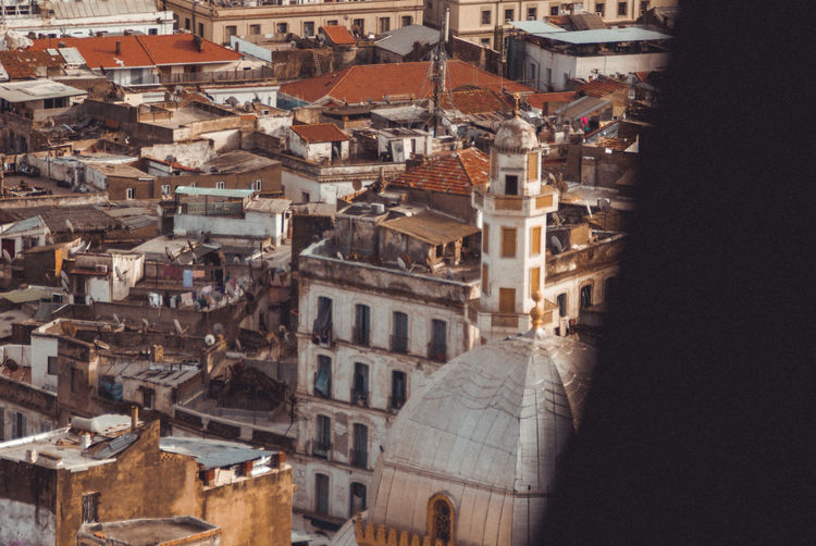 High angle view of buildings in the old side of the algerian capital algiers