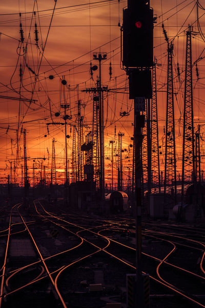 EyeEm Best Shots EyeEm Nature Lover Frankfurt Am Main Sunset_collection Architecture Cable Complexity Connection Electricity  Electricity Pylon Light And Shadow Mode Of Transportation Power Line  Power Supply Public Transportation Rail Transportation Railroad Track Shunting Yard Sky Sunset Technology Track Train Train - Vehicle Transportation