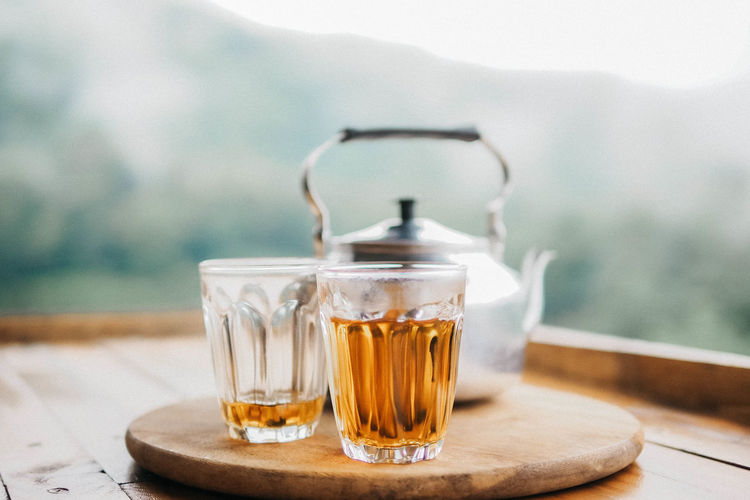 Hot tea and tea pot Drink Refreshment Table Focus On Foreground Food And Drink Glass - Material Glass Tea Close-up Day Drinking Glass Transparent Mug Cup Hot Drink Tea Cup Tea - Hot Drink EyeEmNewHere