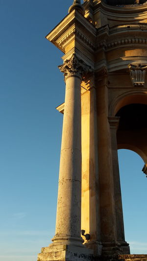 Superga Turin Architecture Architectural Column History Basilica Di Superga ıtaly Sunlight Sunset Light Monument Low Angle View Barock Style Sky Clear Sky City Built Structure Tourism Church Turin Italy My City Columns Church Architecture Barocco Architecture