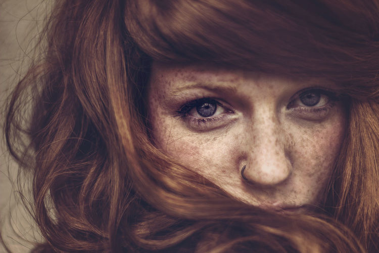 Portrait Freckles Redhead Ginger Beautiful Blue Eyes Stunning Stare Hair Wig Girl Woman Female Natural Light Portrait Nose Piercing Close-up The Week On EyeEm Beautiful Woman Eyes Fresh On Market 2017