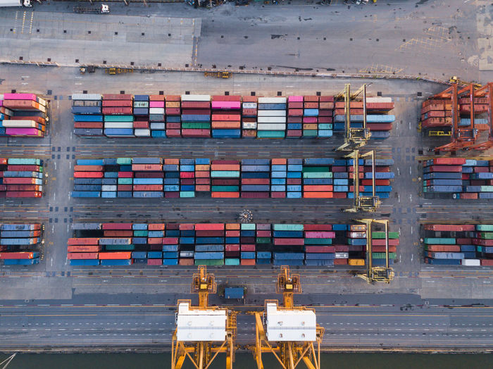 Aerial View Of Cargo Containers At Dock