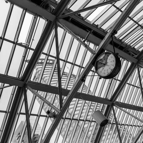 Architecture Building Built Structure Clock Clock Face Day Glass And Metal Glass And Steel Indoors  Low Angle View Minute Hand No People Roman Numeral Time