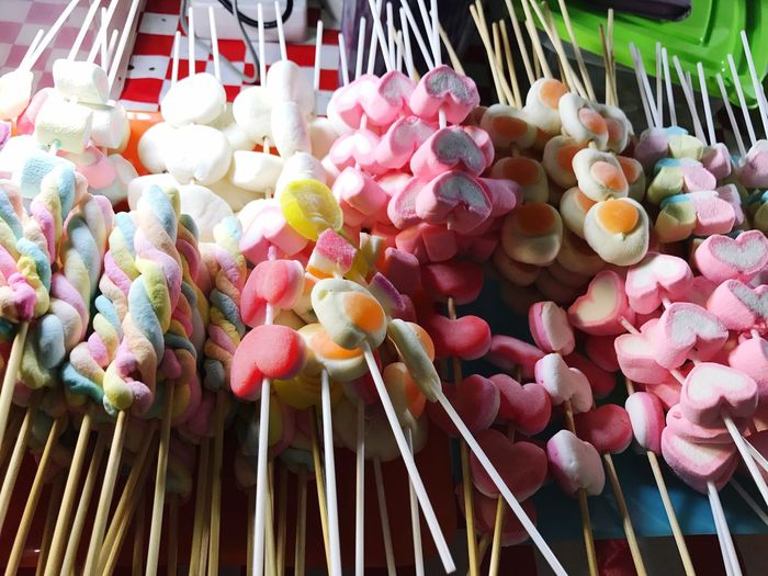 Close-up of multi colored candies for sale