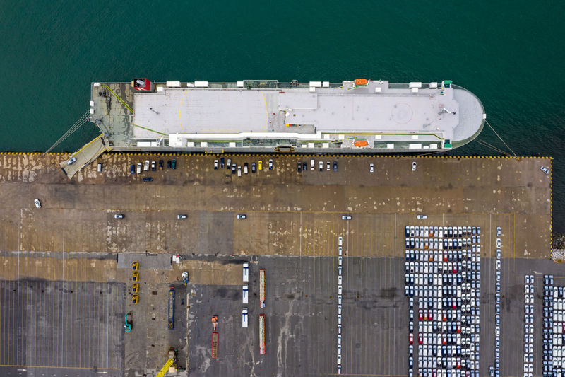 Large vessels for transportation of cars import export by the sea at laem chabang thailand