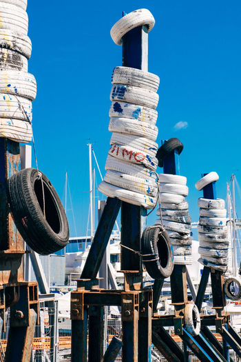 Tires On Metallic Structures At Harbor