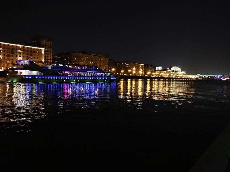 Night Illuminated Water Waterfront River Sky City Travel Destinations Nautical Vessel Cityscape Boatonriver Boat Bigboat Night Lights Night View Nightphotography Night Photography Nightriver Moscow City Capital Cities  Capital Moscowriver