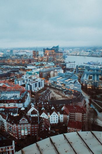 Hamburg Sky Building Exterior Architecture City Built Structure Cityscape Nature No People Water High Angle View Day Cloud - Sky Building Outdoors Winter Sea Cold Temperature Dusk