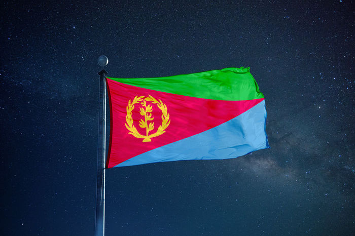 Country Eritrea Patriotism Flag Mast Milky Way Night Object Patriots  Pole Sky Symbol