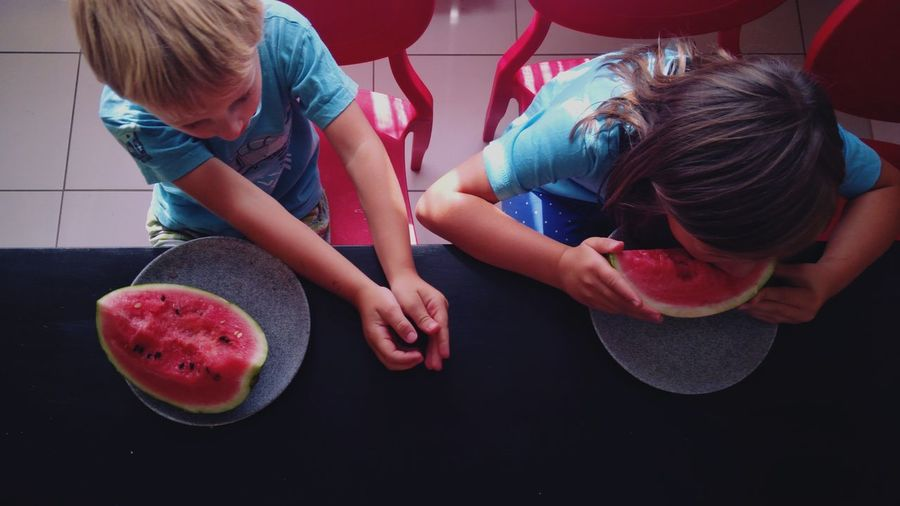 Watermelon Kitchen Siblings Healthy Eating View From Above Child Domestic Room Togetherness Fruit Domestic Life Sweet Food Family With Two Children