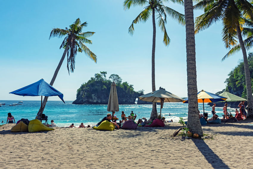 Nusa Penida Crystal Bay Beach Land Sand Tropical Climate Palm Tree Sea Water Tree Sky Nature Trip Vacations Group Of People Plant Holiday Real People Parasol Day Crowd Outdoors Horizon Over Water Bali INDONESIA