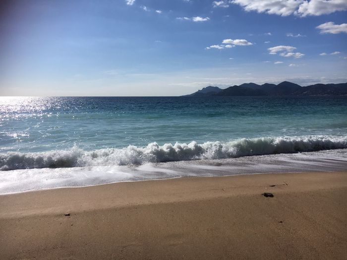 Cannes Beach Cannes Sea Beach Nature Beauty In Nature Water Scenics Shore Horizon Over Water Sand Tranquility Tranquil Scene No People Outdoors Wave