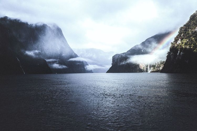 Milford Sound - New Zealand Photography Beauty In Nature Outdoors Mountain Scenics Milford Sound Rainbow Moody