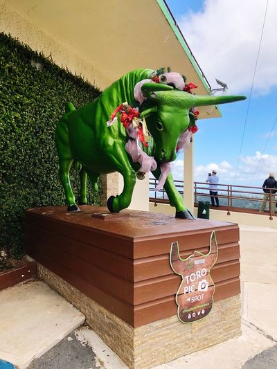 GreenBull Toroverde Puerto Rico Puertorico Puertoricotourism Art And Craft Representation Craft Sculpture No People Creativity Nature Architecture Day Sky Statue Green Color Toy Cloud - Sky Outdoors Plant Sunlight Decoration