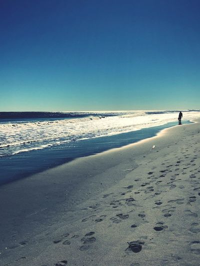 Zen Beach Sea Sand Clear Sky Horizon Over Water Scenics Nature Water Tranquil Scene Beauty In Nature Outdoors Sunlight Day Tranquility Blue Sky One Person