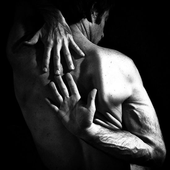 Self portrait - hands Human Hand Human Body Part Midsection Touching Human Skin Togetherness Shirtless Men Love Affectionate Bonding Black Background Care Close-up Human Back Indoors  Day Adult