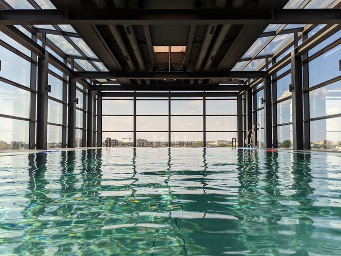 Reflection of swimming pool in water