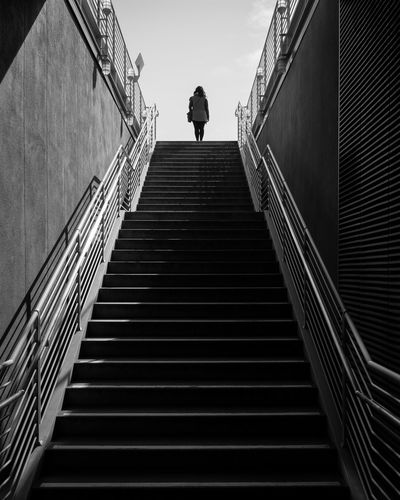 Architecture Steps And Staircases Staircase Steps One Person Full Length Low Angle View The Way Forward Concrete Urban Urban Geometry Blackandwhite Fineart EyeEm Streetphotography EyeEm Best Shots The Street Photographer - 2017 EyeEm Awards