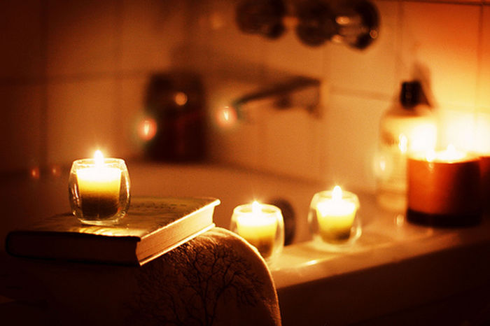 Friday Evening Well-deserved Rest Bath Time Candles Chillout After Training Light And Shadow For Imaginatin