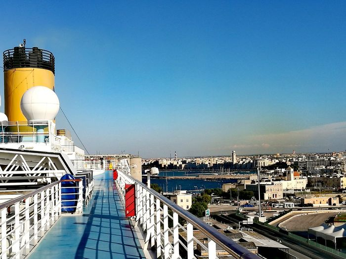 Bari View From Ship City Cityscape Clear Sky Sea Sunlight Sky Architecture Building Exterior Built Structure Moored Nautical Vessel Harbor Port Dock