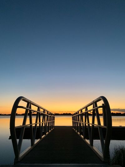Sky Sunset Water Nature Sea Architecture Bridge Clear Sky Built Structure Bridge - Man Made Structure No People Railing Connection Copy Space Pier Tranquility Scenics - Nature Tranquil Scene Outdoors