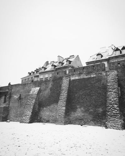 Winter Warszawa  Warsaw Architecture Building Exterior Built Structure Low Angle View Outdoors Day Clear Sky Castle Snow