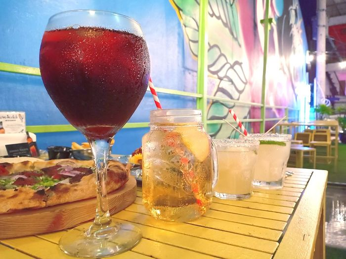 Drinks for two - Date Night with Bibi Love ❤️ #foodphotography #foodporn #FoodLover  #photography #EyeEmNewHere #sangriawine #AppleJuice #margarita #cocktail #drunk #dinnerdate #dinnerfortwo #drinksfortwo #nightout #classynightout #classydate #classydrinks #drinkmoderately Water Tonic Water Drinking Straw Summer
