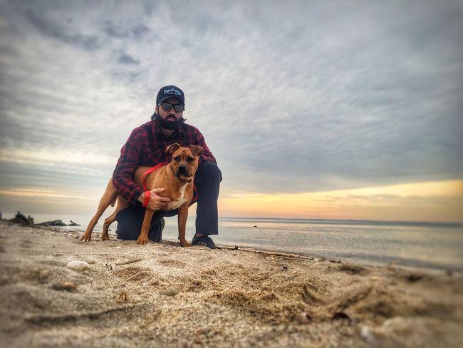Me and maxx Beach Cloud - Sky One Animal Full Length Sand Outdoors Sunset Horizon Over Water Lifestyles Domestic Animals Leisure Activity Bonding NY Longisland Nature Pitbull Landscape Pet Boxer Dogs Longislandsound