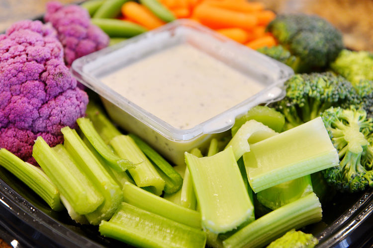 Close-up of chopped vegetables in tray
