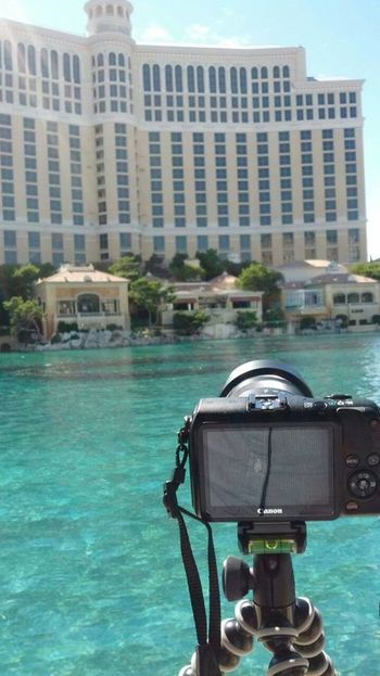 Watching fountain choreo at Bellagio Architecture At Work Bellagio Blue Boulevard Building Exterior Built Structure Canal Canon Cropped Day Fountain Leisure Activity Lifestyles Nautical Vessel Nevada Outdoors Part Of Photography Themes Sky And Clouds Sunlight Urban USA Vegas  Water