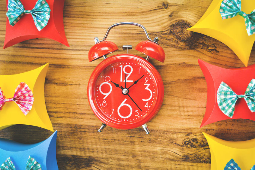 Celebration Chistmas Gift Box New Year Red Blue Clock Gift Ribon Table Time Wood Background Yellow