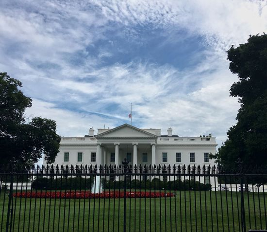 Building Exterior Architecture Built Structure Sky Low Angle View Government Cloud - Sky Architectural Column No People Outdoors Day City Tree Nature Pediment White House