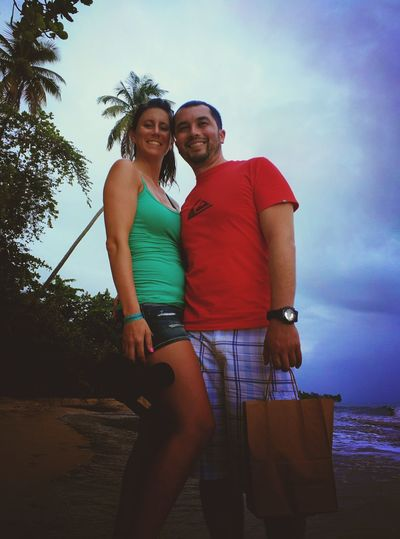 Fun with my love! Rincon Beach Sand Sky Ocean View Palm Trees