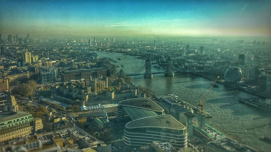 Tower Bridge from Sky Garden. Sky City Cityscape Architecture High Angle View Aerial View Autumn A Bird's Eye View