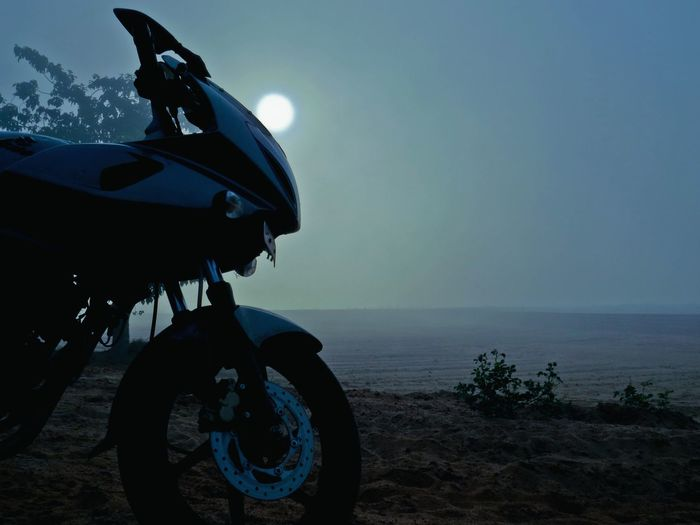Moon And The Motorcycle Blue Moon Blue Atmosphere Motorcycle In The Woods Motorcycle In Heaven Motorcycle Dream Sequence Silver Bike In Blue Woods Motorcycle InFoggy Woods