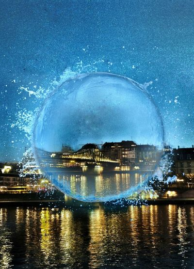 Like a Snowglobe sometimes it's got to be a little Kitschy Illuminated Bridge Pedestrian Bridge Over The Main River Bubble Drastic Edit Playing With Effects Postcard Looking City Illuminated City Riverscape Water Architecture Space Reflection Star - Space Sky Splash!!! Urban Landscape Night No People Outdoors Frankfurt Am Main Germany🇩🇪 Cut And Paste