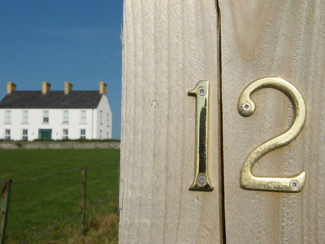 12 Architecture Close-up Day Gate Post Green Color House Number No 12 No People Numbers Outdoors Twelve White Cottage White House