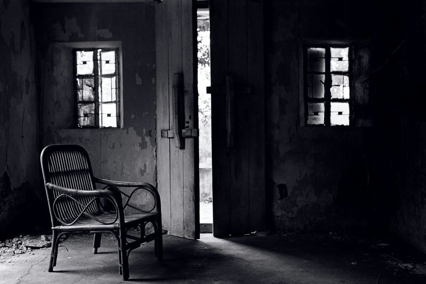 Ruin Vintage Black & White Empty Seat Hong Kong , broken house Film Photography